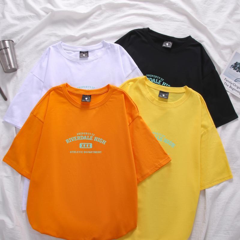 T-shirt Harajuku Hip uomini di modo kpop Hop allentato manica corta Top Abbigliamento casual Coppia Lettera Stampa 100% cotone T-shirt Homme
