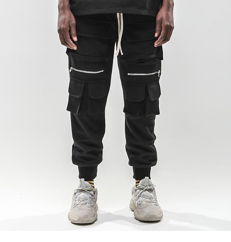 Januarysnow degli uomini di Hip Hip Cargo Pants multi tasche Sweatpant Streetwear Harajuku Pantalone jogging pista pantaloni neri Hipster Street Wear