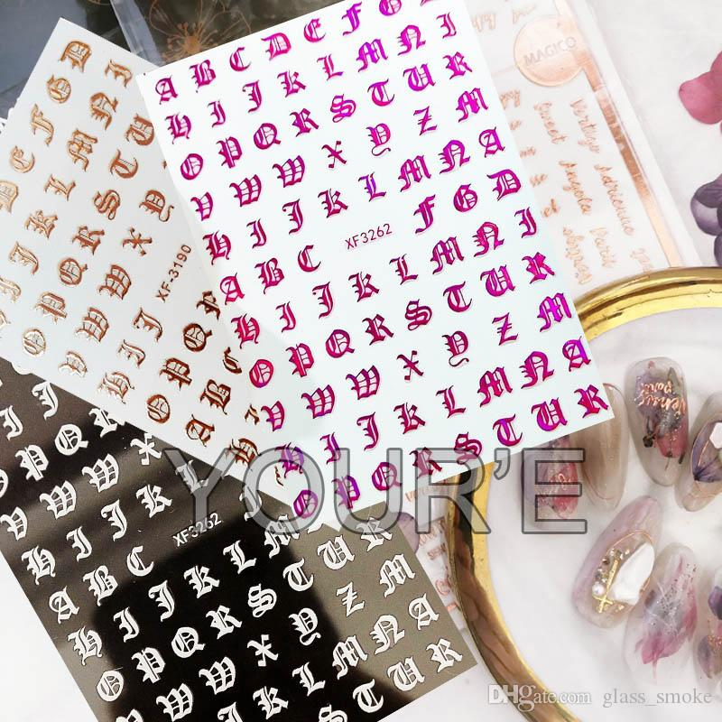 New 3D Gold Black White Nail Sticker Self-adhesive DIY Charm Lable Letter Sticker for Nails Decals Manicure Nail Art Decal