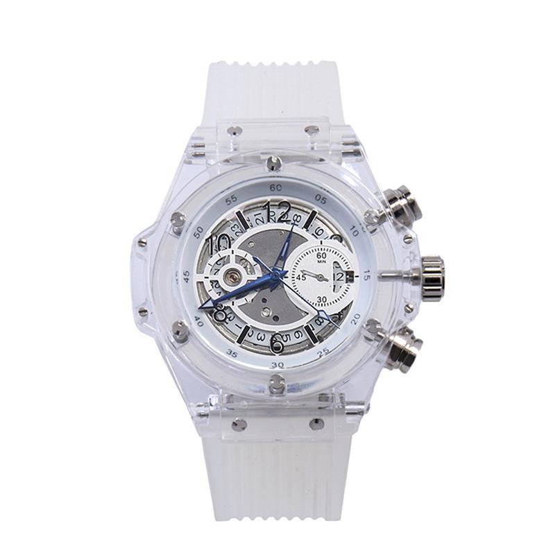 homens da forma simples do calendário fita transparente Relógio Mecânico Automático personalidade casal relógio e mulheres de explosão à prova de água