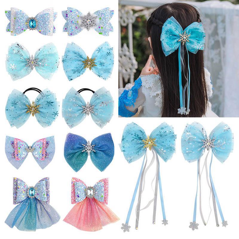Ins 3,3 pulgadas de encaje arcos para el cabello niñas pinzas para el cabello de cristal princesa niñas barrettes niñas scrunchies niños hairbands accesorios para el cabello del bebé
