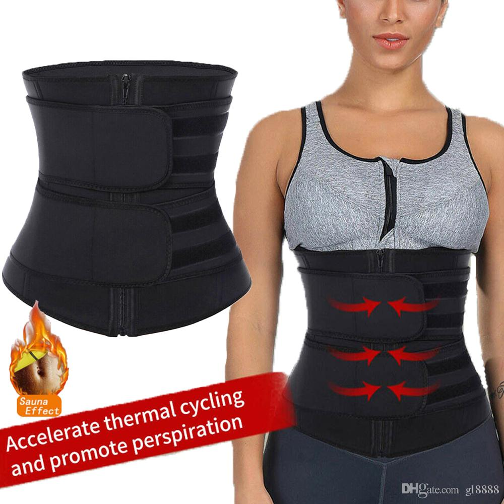 النساء الخصر المدرب ساونا حزام العرق سستة الجسم المشكل مشد حزام ضئيلة الفرقة