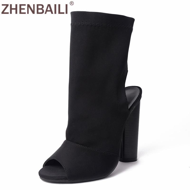 ZHENBAILI Black Stretch in tessuto Stivali Donna della pista di modo Pompe rotonda Chunky Tacchi alti Slip-on Peep Toe Open heel Scarpe Donna