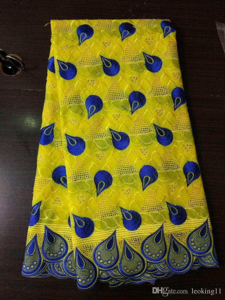 5yards / шт Очаровательная желтая и синяя Швейцарской вуали сетки кружева вышивки Африканская хлопок кружевная ткань с камнем для платья BC59-1