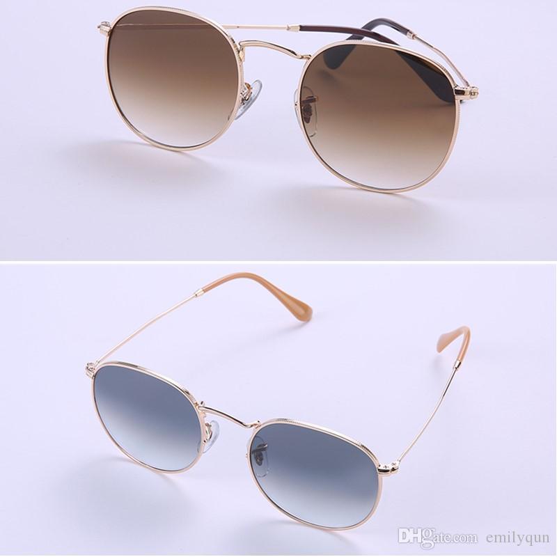 Brand Women Vintage Round Sunglasses Classic Men Gradient Sunglasses Metal Frame Glass Lens Sun Glasses Fashion Shades with Original Box
