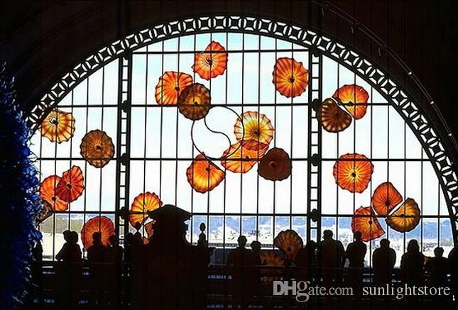 100% verre mur Blown Plaques de luxe Art Gallery Hôtel Lobby Mur Plaques multi lumières colorées mur