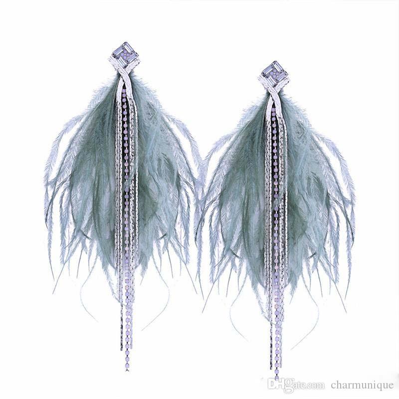 N Bohemian Long Chain Tassel Feather Earrings For Women Fashion Dangle Drop Earrings Statement Rhiestone Earring