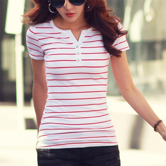 Rayas mujeres de la camiseta del verano Top camisas más del tamaño 5XL informal camiseta de rayas Camiseta de la hembra de las mujeres 'S algodón de las tapas Camiseta Femme Calidad