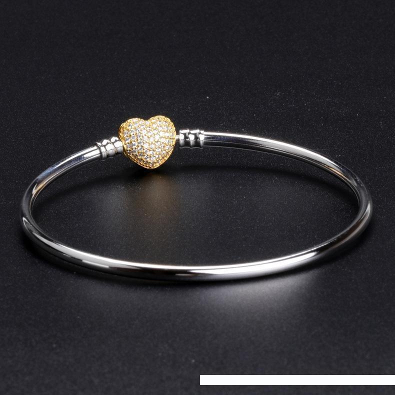 Atacado- Amor CZ bracelete de diamantes de Pandora Prata 925 Jóias Designer de luxo Sterling com pulseira de caixa Mulheres Original