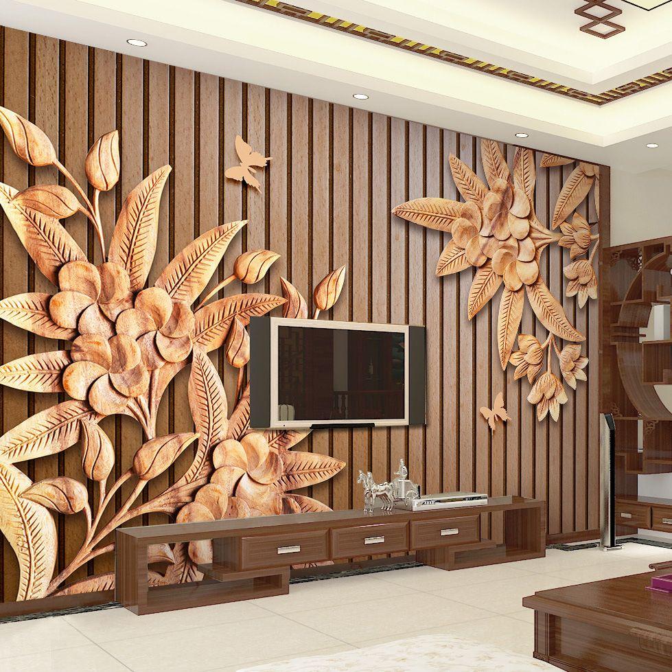 Dropship Новый китайский стиль Резьба по дереву 3D Relief текстура древесины нашивки Обои Коричневый Гостиная Ресторан Настенная бумажные обои