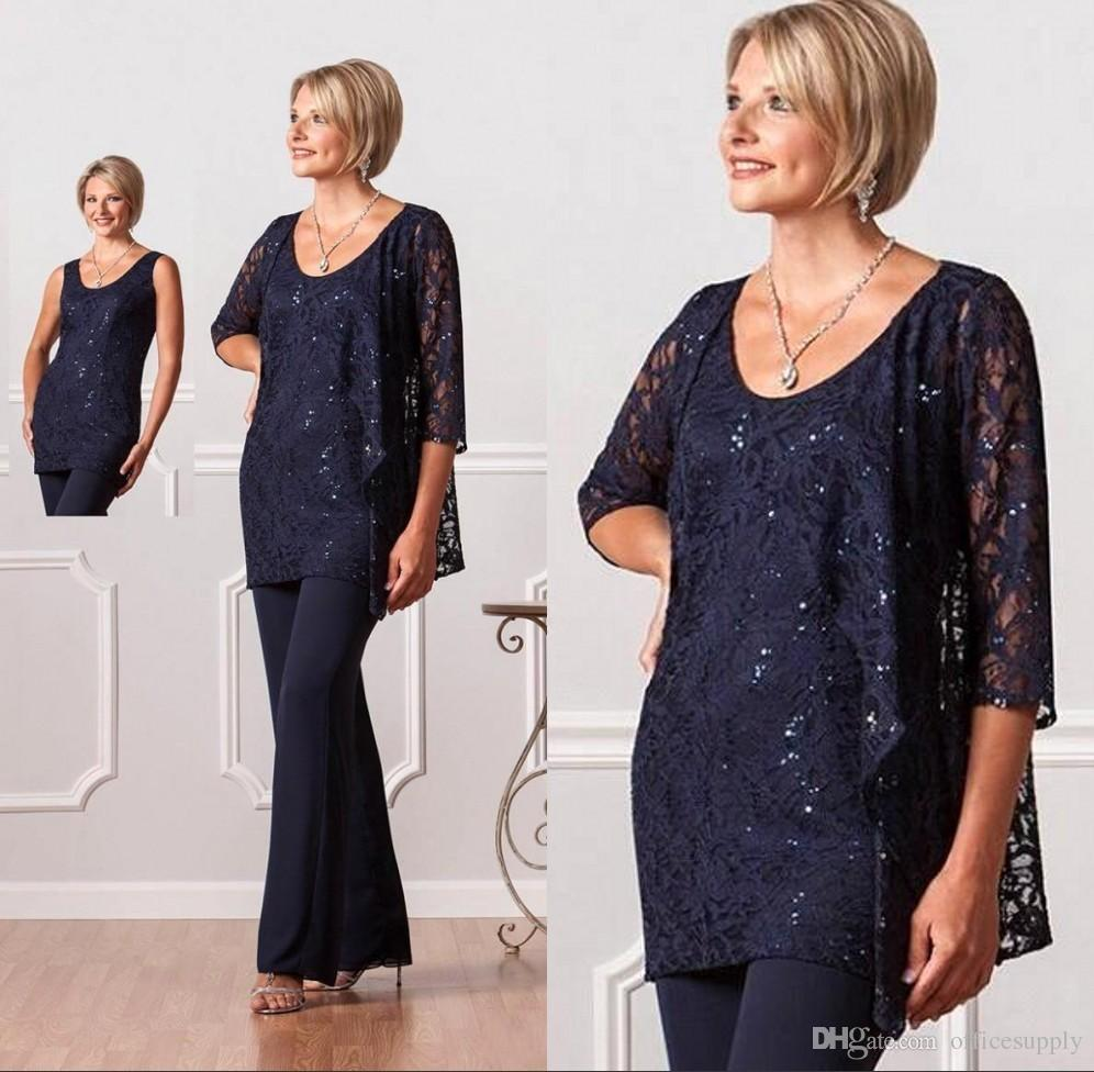 New Vintage Azul Marinho Formal Mãe De Noivo Da Noiva Pant Blusa Ternos com Jaqueta Tripulação Longo Sleevs Plus Size Vestidos de Noite