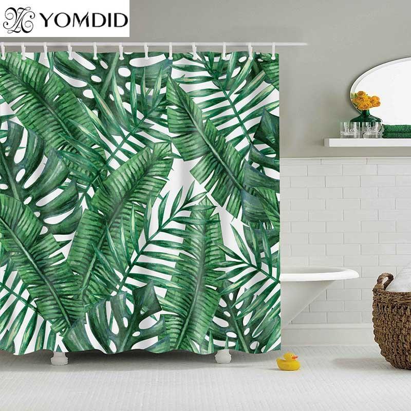녹색 열대 식물 샤워 커튼 욕실 방수 폴리에스테르 샤워 커튼 인쇄 커튼을 위해 목욕탕 샤워 시설