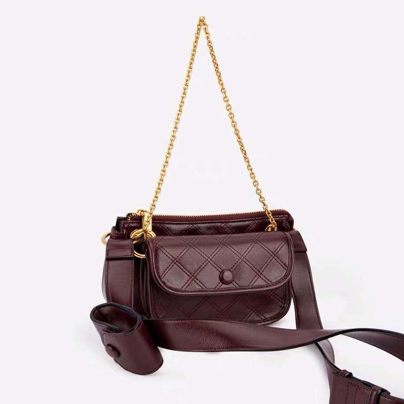 Thread-Muster-Leder Umhängetaschen für Frauen 2020 Schulter-Composite-Taschen-Dame-Chain-Beutel-Kurier-Geldbeutel