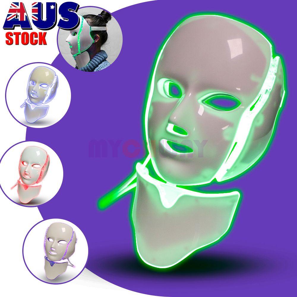 PDT Lichttherapie LED-Gesichtsmaske mit 7 Photon Farben für Gesicht und Hals Hautverjüngung LED-Gesichtsmaske Home Use