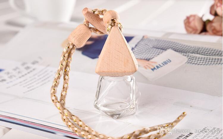 Bouteille parfum de voiture vide gros 6ml Parfum Hanging Rechargeables Bouteilles Parfum Accueil Désodorisant Avec Cap en bois