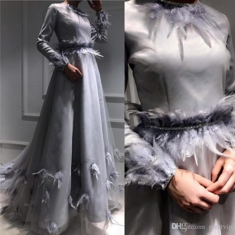Gri Zarif Tüy Gelinlik Modelleri Uzun Kollu Boncuk Kanat Abiye giyim Artı Boyutu Örgün Parti Elbise elbiseler de soirée