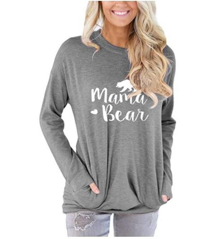 Mama Bear Hoodie Women Letter Printed Long Sleeve Casual Sweatshirts Solid Color Pocket Shirt Tops 10pcs LJJO7140