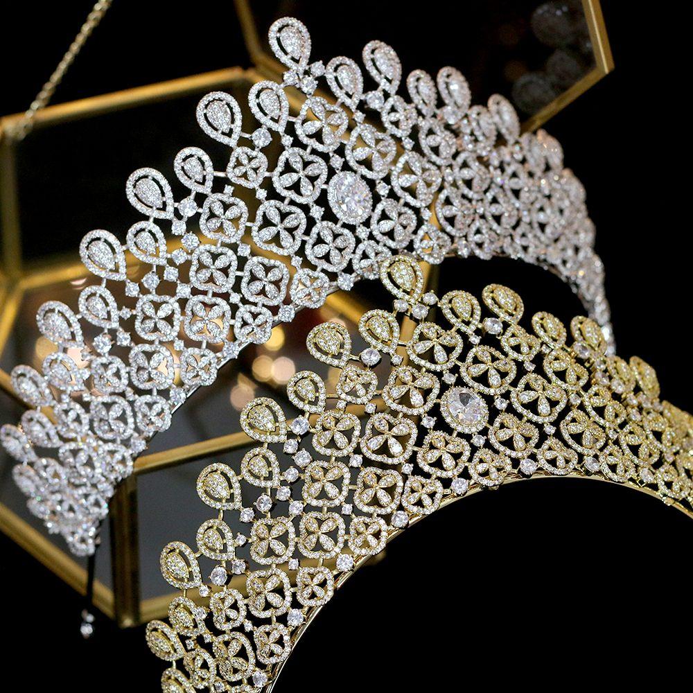Высокое качество принцесса негабаритных золото / серебро CZ корона невесты свадебный головной убор Кристалл свадебные аксессуары для волос