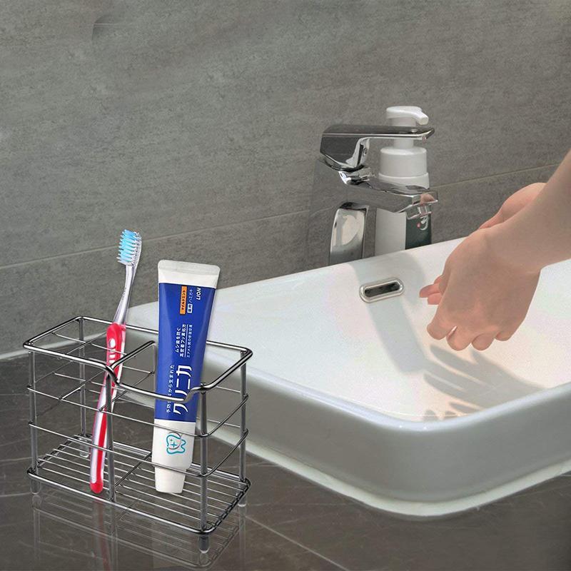 En acier inoxydable salle de bains Brosse à dents Porte-brosse à dents Tasse Dentifrice Support de rangement Razor Salle de bain Organisateur Dropshipping stand