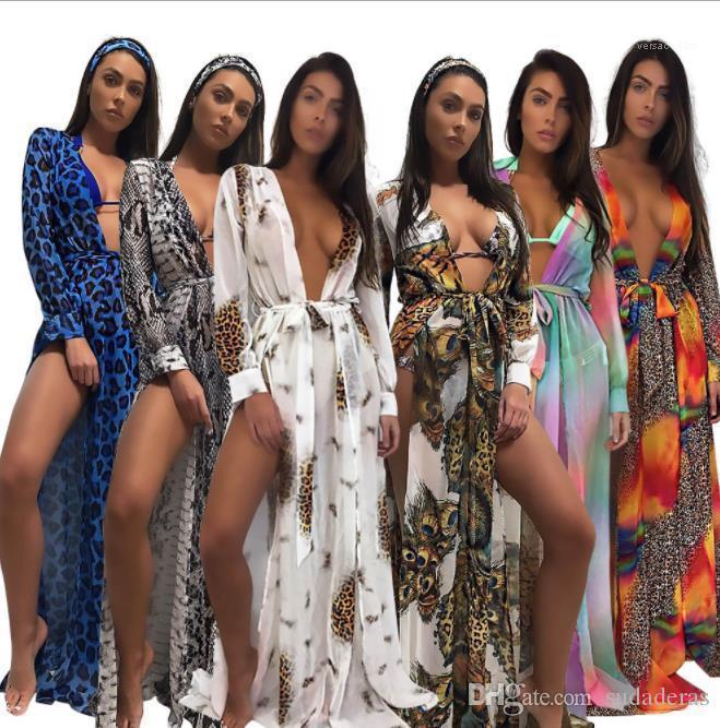 Summer Beach Longo Chiffon Leopard colorido Boho Vestidos de férias Vestir Bikini Mulheres Blusa