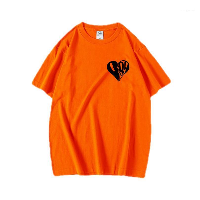 Loser beiläufiger Tops Saft WRLD Teenager Herz-Druck-T-Shirts Sommer Designer Herren mit Rundhalsausschnitt Süße Farben kurzer Hülsen-T-Shirts Paare
