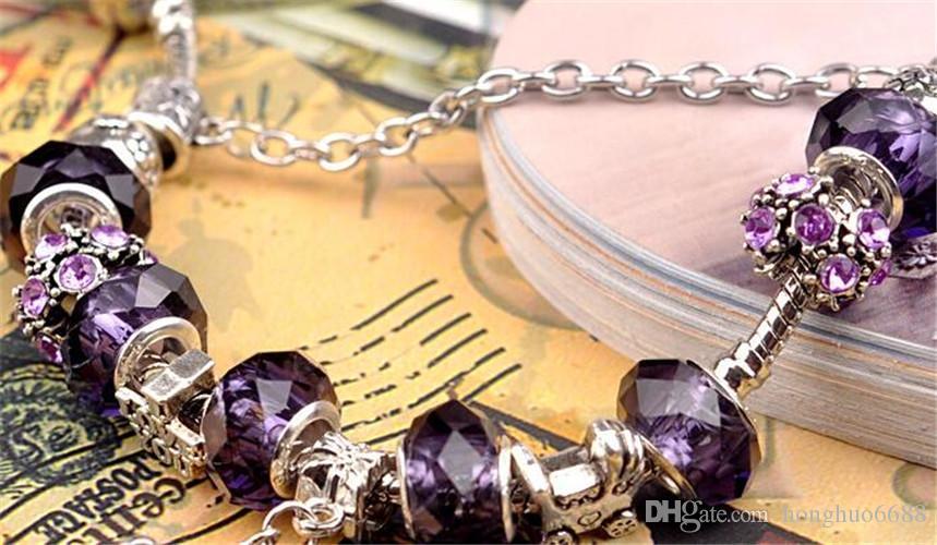 Brand design purple couple crystal bracelet vintage lady European and American jewelry crown DIY beaded handmade bracelet