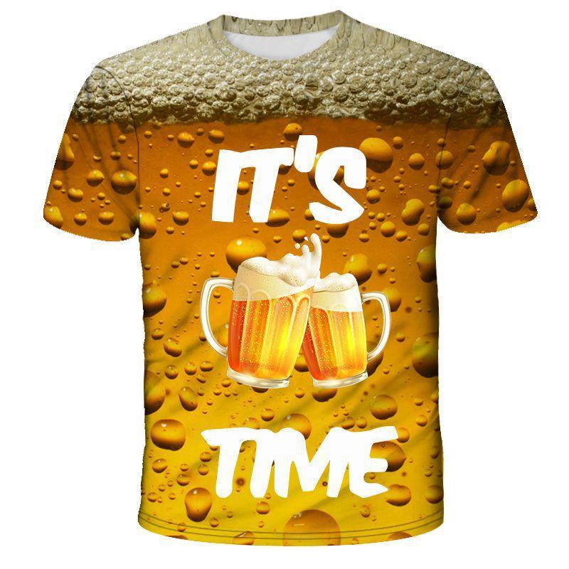 Sommer-Männer 3D-T-Shirt Bier-Zeit kurze Hülse O-Ansatz Art und Weise lustiger 3D Gedrucktes T-Shirt der beiläufigen Männer Tops Tees Street T-Shirt