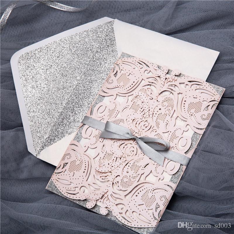 Pearlescent Paper Weddings Invitaciones Ceremonia de boda estilo europeo Tarjeta de invitación de gama alta ahuecando tarjetas creativas 3 95jc L1