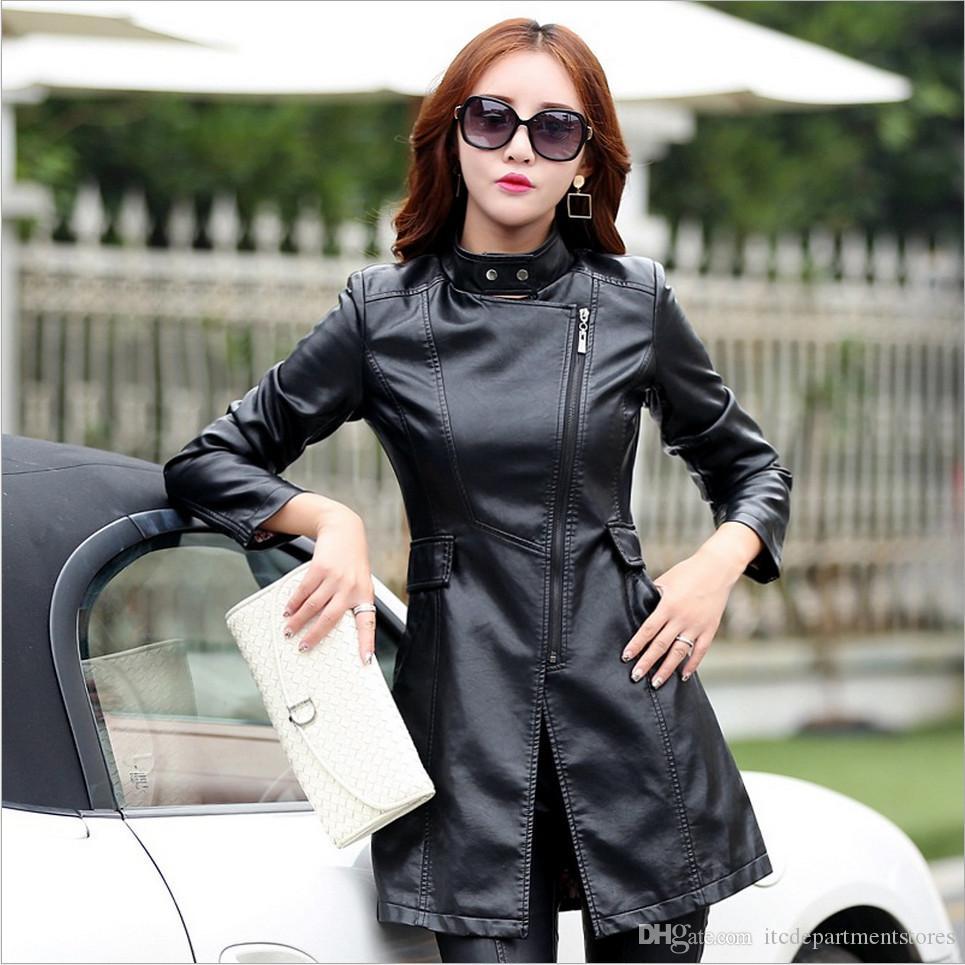 Leder-Mantel-Jacken-Frauen arbeiten dünne Patchwork lange weibliche Jacke Qualität PU-Motorrad-Herbst-Winter-Oberbekleidung