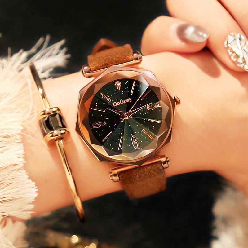 Casual Mulheres Romantic Starry Sky Roman Digital Assista Estrela relógio das mulheres Quartz Simples Vestido presente para as mulheres Montre Femme