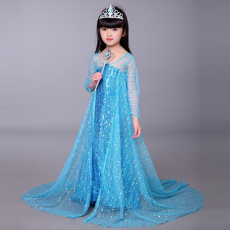 Bebek Cosplay Kıyafetler Kız Sequins Prensler Elbise Uzun Kollu Gazlı Bez Pelerin Kat Uzunlukta Elbise Cadılar Bayramı Çocuk Günü Performans Kostüm M199