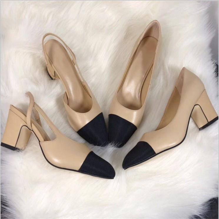 Hot Sale High Heels Patchwork Split Color Ladies Fashion Shoes Genuine Leather Open on Formal Chunky Heel Slingbacks Sandals
