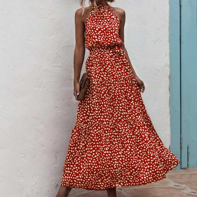 Verão elegante Sexy longo vestido cinto Mulheres 2020 Imprimir Moda Flores das bolinhas pulseira Ladies Halter boho mulheres vestem vestidos