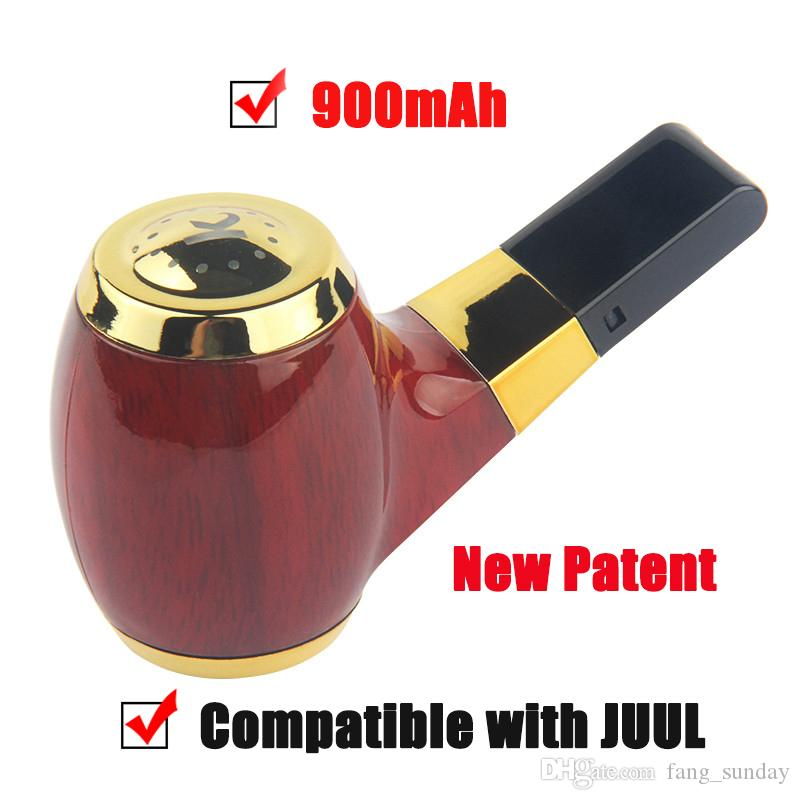 New Patent KF-01 E Pipe Vape Mod Wooden 900mAh Vaporizer Battery Magnetic Vape Pods Compatible with JUUL COCO Smoking Pen Cartridges