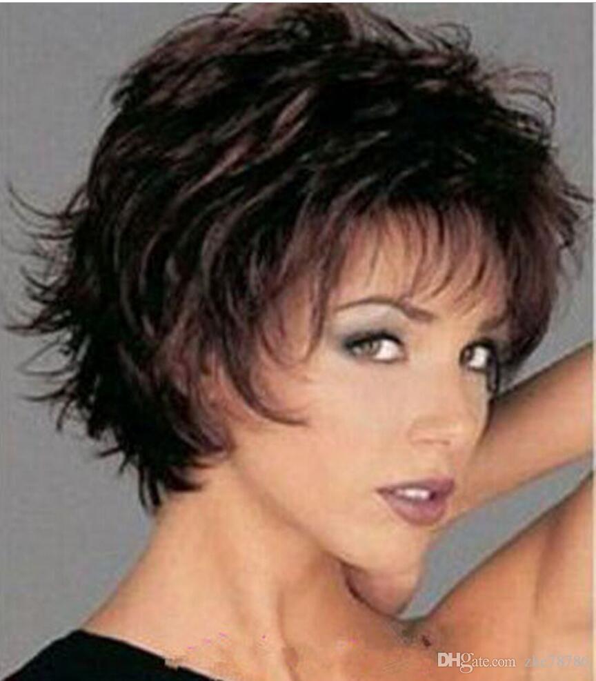 Парик горячая бесплатная доставка короткие коричневый микс вьющиеся женские женские волосы косплей ну вечеринку парики / парик