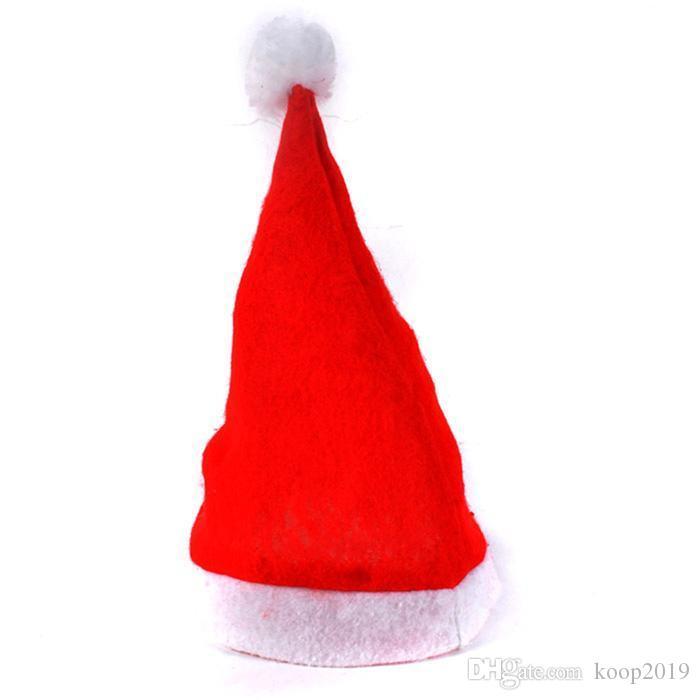 200PCS 빨간 산타 클로스 모자 울트라 소프트 봉제 크리스마스 코스프레 모자 크리스마스 장식 성인 크리스마스 파티 모자