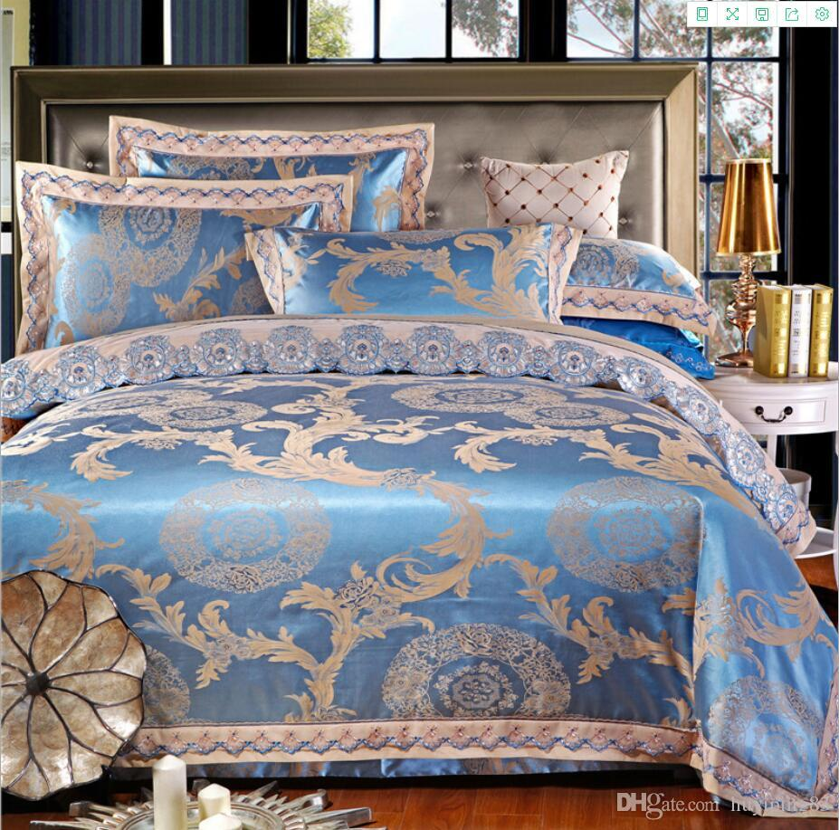 Luxury Satin Jacquard Silk/Cotton Bedding Set 4/6pcs lace duvet cover Bedclothes Bed Sheet Set pillowcases Bed cover Queen King size