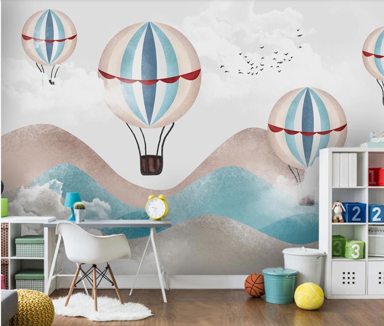 Carton Hot Air Balloon Enfants Chambre Murale Wallper Contact Papier Papel De Parede Enfants Chambre 3d Photo Papier Peint Décoration Murale