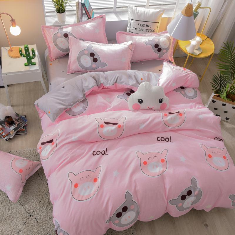 디자이너 침대 이불은 북부 유럽 스타일의 미국 다국적 사이즈 이불 커버의 섬유 스타일 단색 AB 버전을 설정합니다