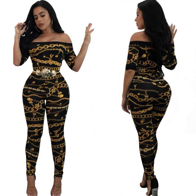 Женская Комбинезоны Summer Sexy Printing одно плечо Комбинезон женщин Дизайнерские облегающие Rompers 2020 новых женская одежда