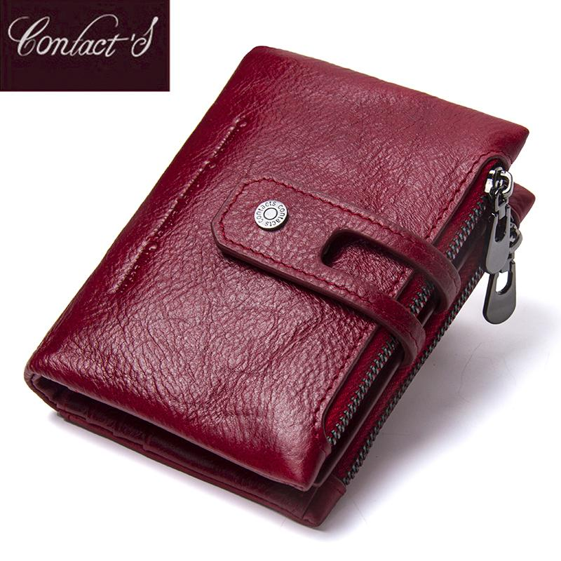 Contact's Fashion Short Women Wallet Female Genuine Leather Womens Wallets Zipper Design With Coin Purse Pockets Mini Walet 2019 Y19051702