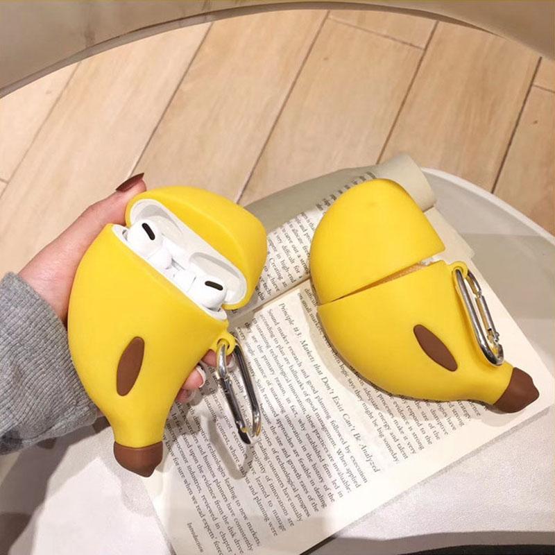 2020 For Airpods Pro Case 3d Cartoon Banana Protective Silicone