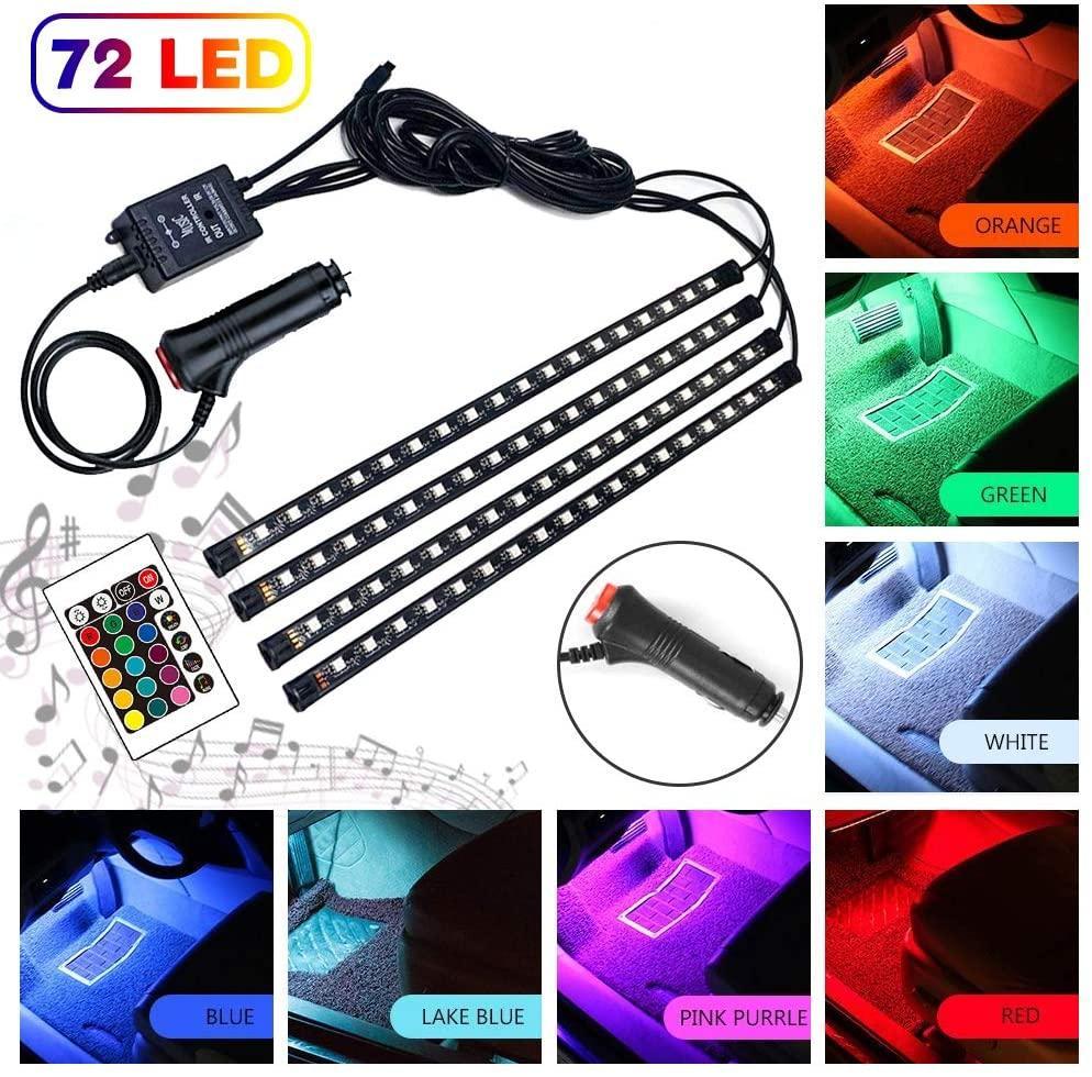 DC auto striscia luminosa a LED, 4pcs LED 12V / 5V Kit di illuminazione 16 colori RGB Light Music Car Interior LED nell'ambito del precipitare con il suono Funzione attiva