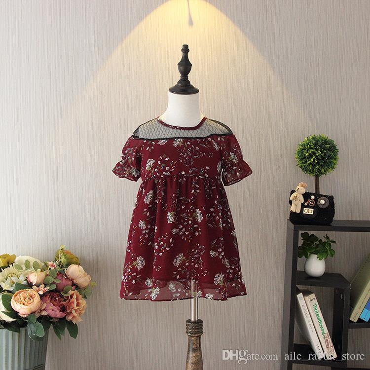 Summer new girls chiffon skirt baby girl retro Floral Print Short Sleeve beach Dress kids Mesh dresses