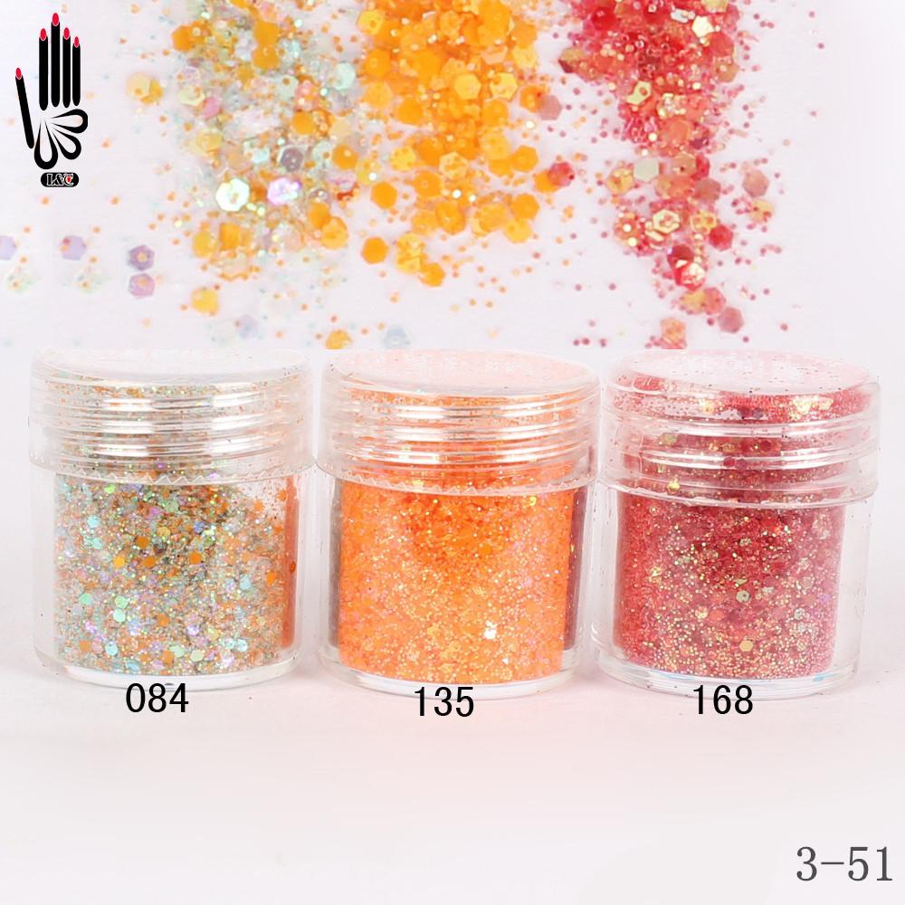 1 pot / boîte 10ml 3 Miel Orange Rouge Couleur Mix Nail Paillettes Paillettes Poudre pour Nail Art Décoration en option 300 couleurs 3-51