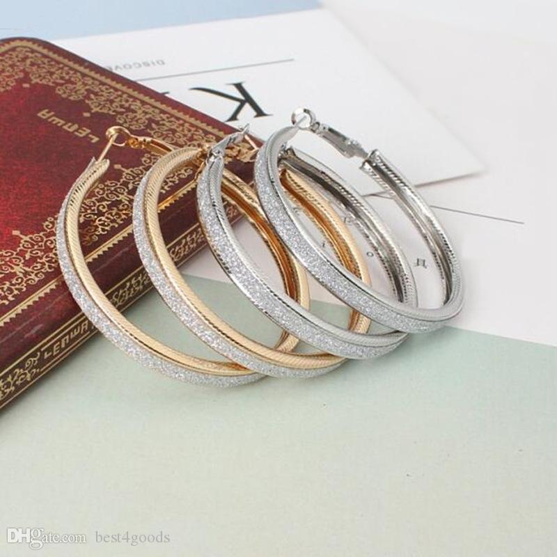 여성 스팀 펑크 귀 클립 파티 보석 액세서리 선물에 대한 골드 컬러 큰 원형 후프 귀걸이