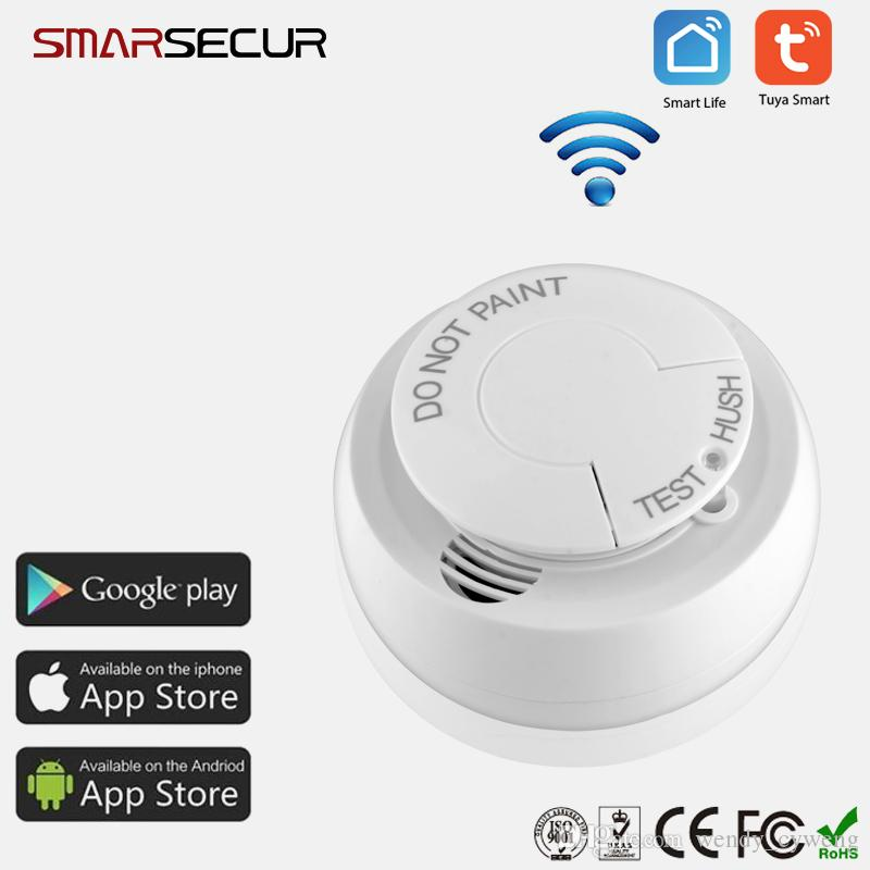 Smarsecur Wireless Wifi Smoke Detector Fire Smoke Sensor Home Tuya