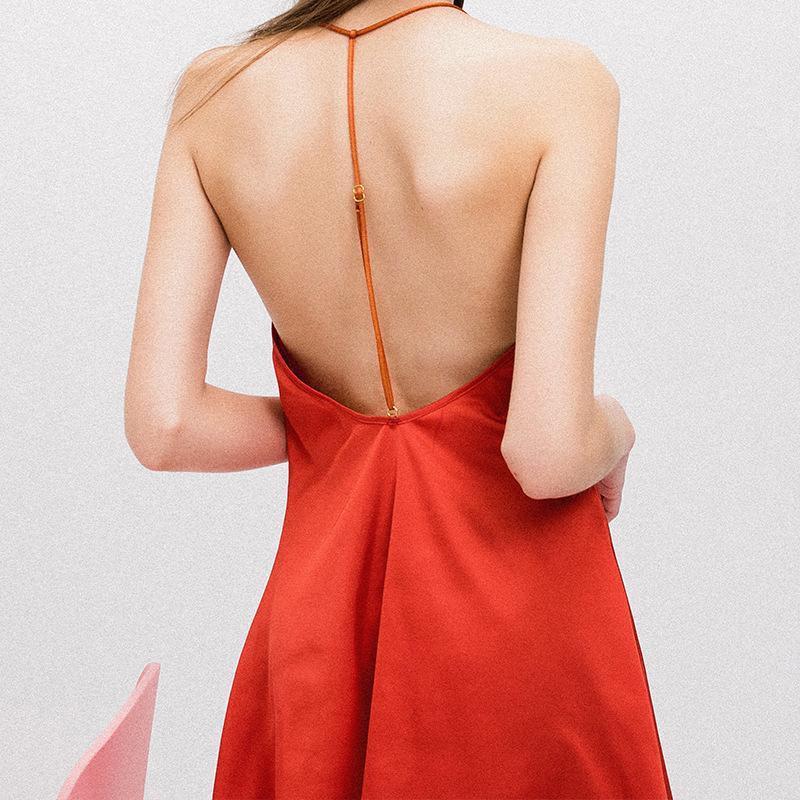 Sexy femmes de nuit Lingeerie Mini robe col en V Backless Ice soie Chemise de nuit noire Tentation rouge Sling douce A- ligne Nightgown