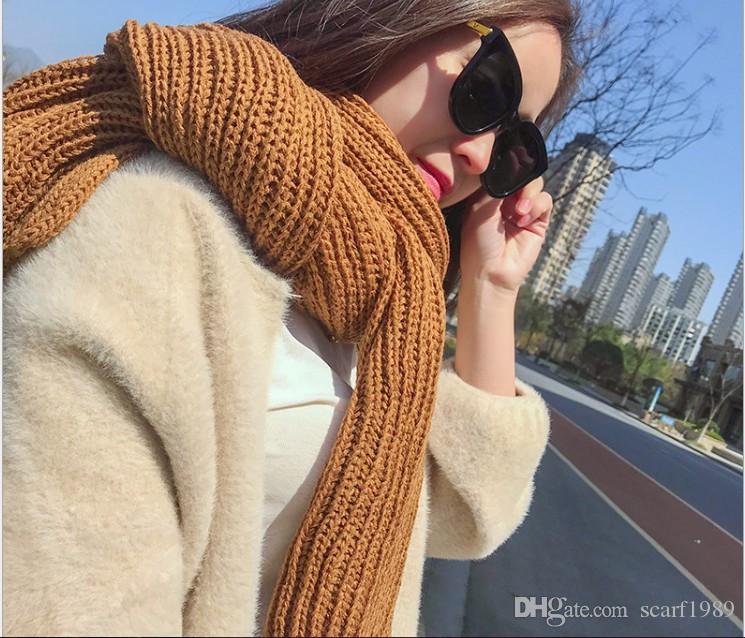 Outono e inverno nova cor pura cachecol de lã cachecol de lã dos homens das mulheres acrílico cachecol de lã de malha por atacado 190x30 cm