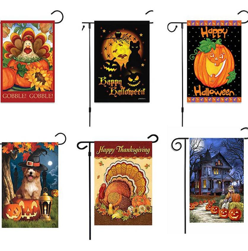 47 * 32 centimetri Happy Halloween Giardino Bandiera biancheria zucca Ringraziamento Giardino Bandiera Interni Esterni Home Decor 6 stili KKA7996